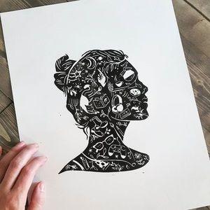 "Handprinted ""Inner thoughts"" black ink art print ✨"